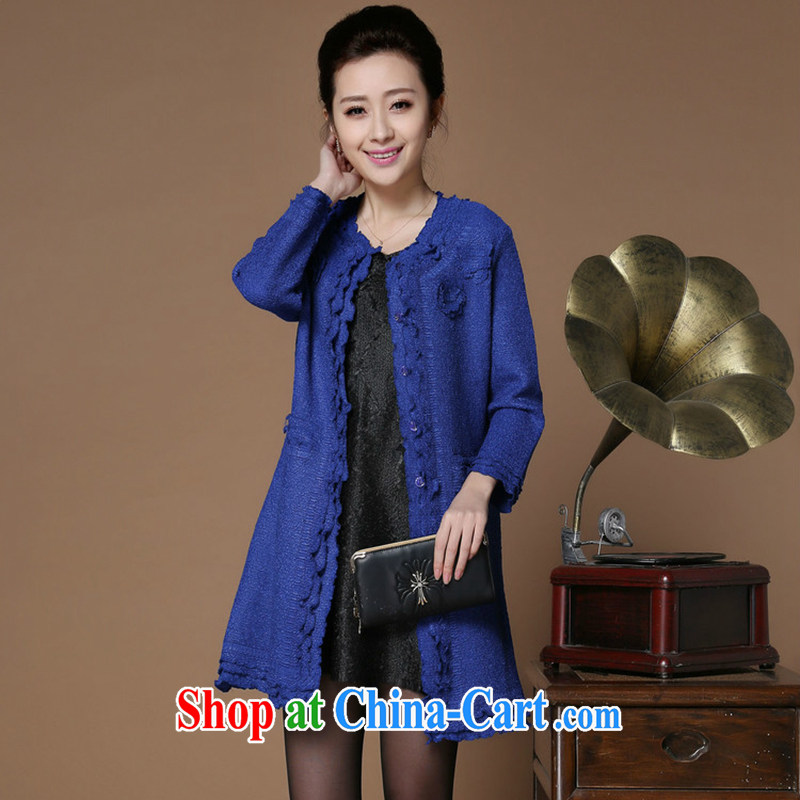 Yu Hong Yeon 2015 spring new upscale, older style female silk wrinkled thin wind jacket royal blue XXL