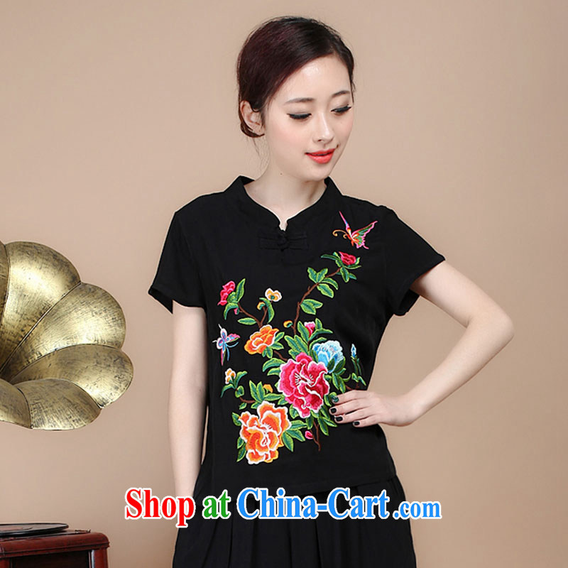 Yu Xiang Yu-na, Tang with summer T-shirt retro embroidery t-shirt larger units the National wind loose T-shirts female black XXL
