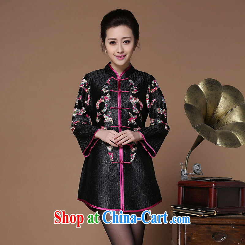 Yu Xiang Yu-na Ethnic Wind women 2015 spring new retro silk wrinkled Tang jackets Chinese 9 sleeveless black XXXL