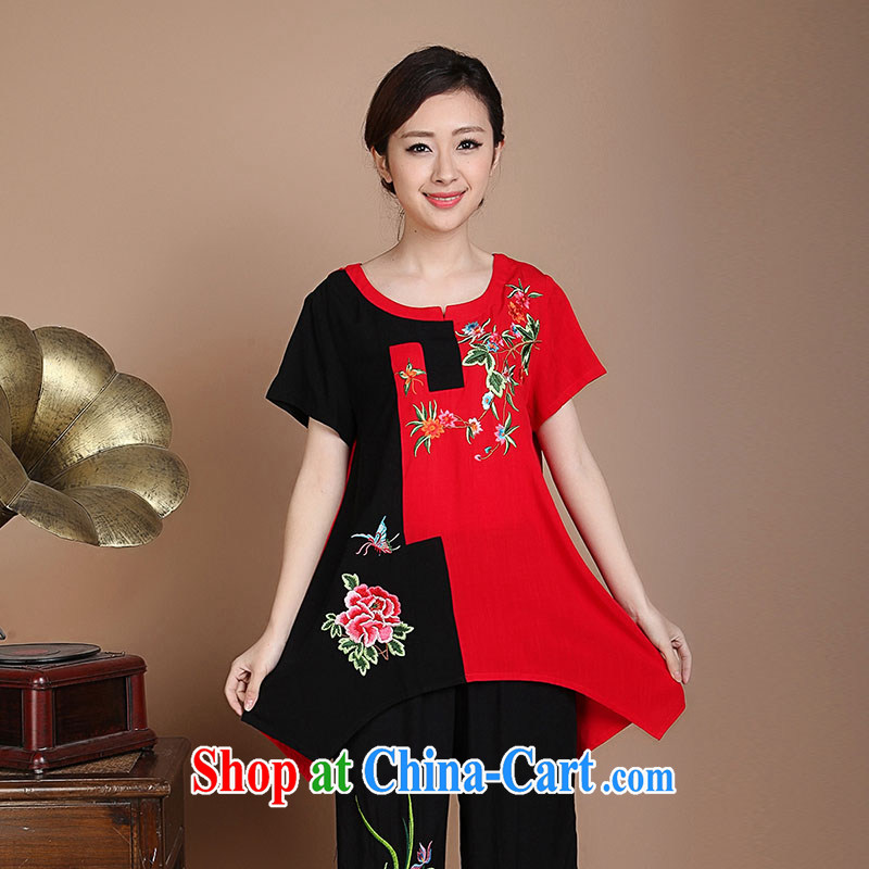 Yu Xiang Yu-na 2015 summer new Ethnic Wind maximum code mom with cotton the embroidery stitching short-sleeved shirt T female Red XXXL