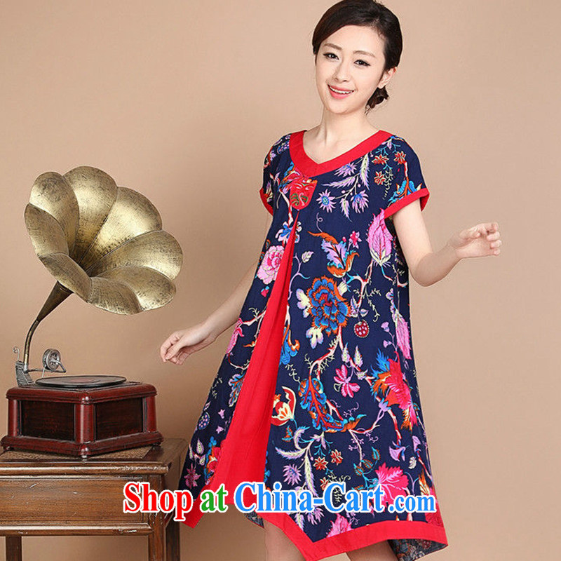 Yu Hong-yeon summer 2015 New National wind in older women stitching retro cotton stamp duty, long dress dark blue XL