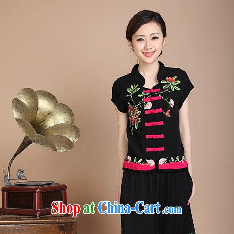 Yu Xiang Yu-na summer, older women with her mother Tang with embroidered jacket National wind is withholding the code T shirts on T-shirt shirt black XL