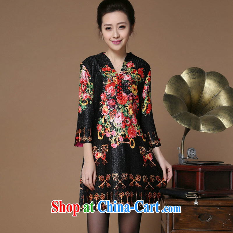 Yu Xiang Yu-na 2015 spring and summer New Tang on the code is silk wrinkled, long, 5 sub-sleeved jacket black XXL