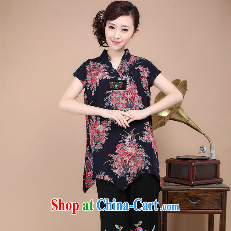 Yu Hong-yeon summer 2015 National wind mother load Tang is relaxing the code and indeed, long, short-sleeved shirt T-shirt T-shirt woman black L