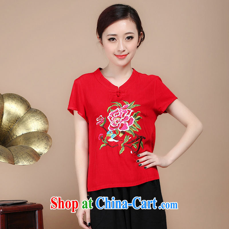 Yu Xiang Yu-na 2015 New National wind women summer embroidery antique style Chinese beauty T-shirt cool embroidered short sleeved T-shirt red M