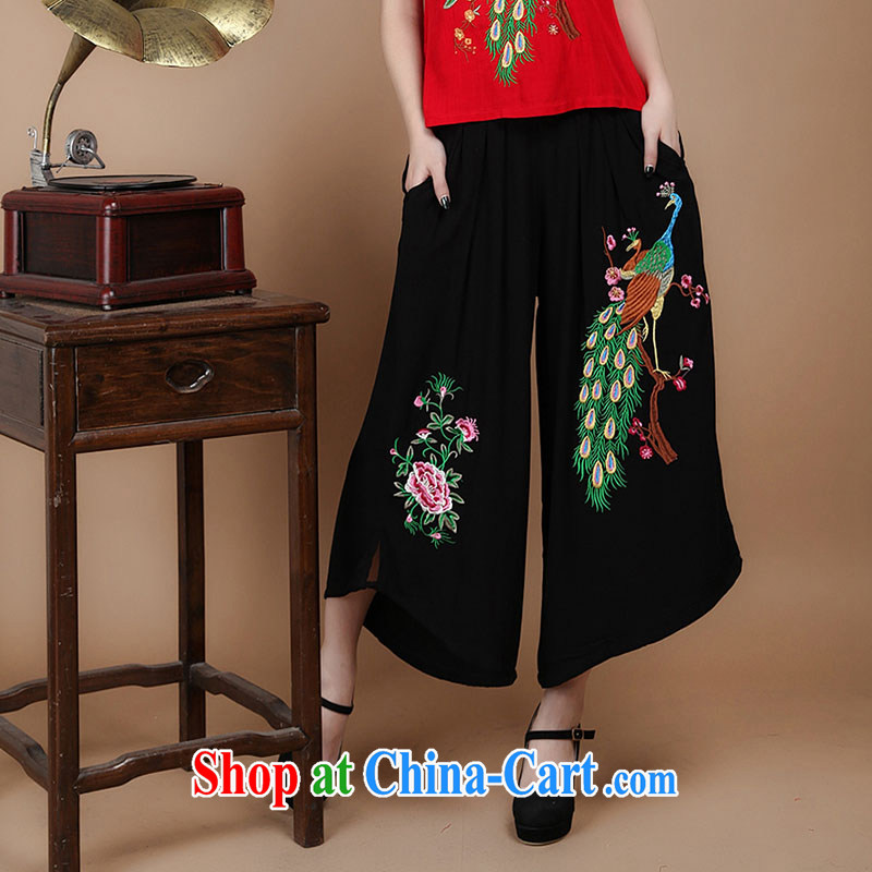 Yu Hong-yeon in 2015 older summer new, 7 female trousers Elasticated waist cotton embroidered Ethnic Wind large Dress Pants black M