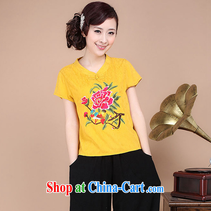The Timorese Connie 2015 New National wind female summer embroidery antique style Chinese beauty T-shirt cool embroidered short sleeved T-shirt yellow XXL