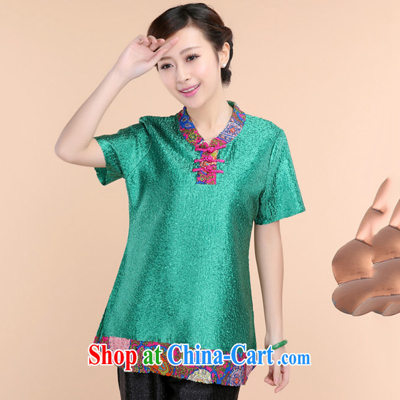 The Timorese Connie 2015 spring and summer new, high-end silk wrinkled mother loaded the code short-sleeved T-shirt green XXL
