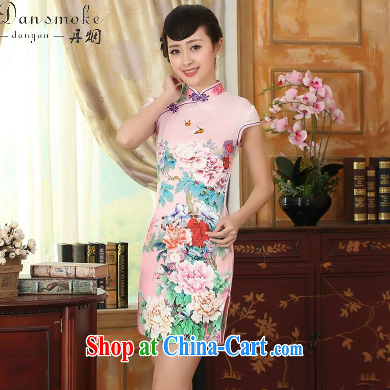 Dan smoke summer new female qipao Chinese Chinese improved, for a tight Peony silk short cheongsam dress such as the color 2 XL