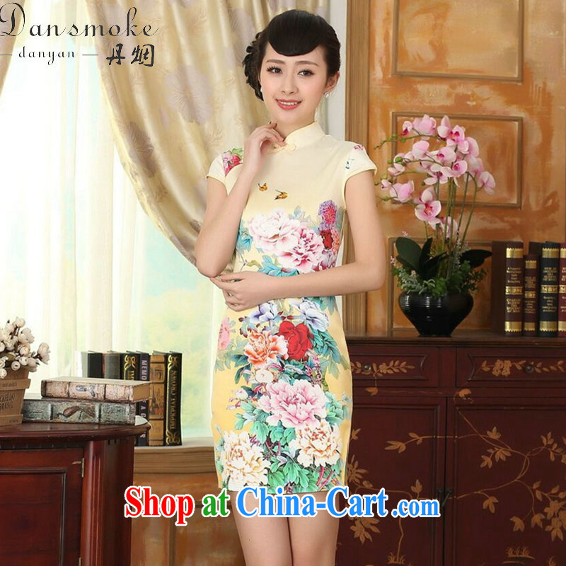 Dan smoke new summer female elegance improved the color day Hong Kong Silk Chinese is hard-pressed video thin short dresses such as the color 2 XL