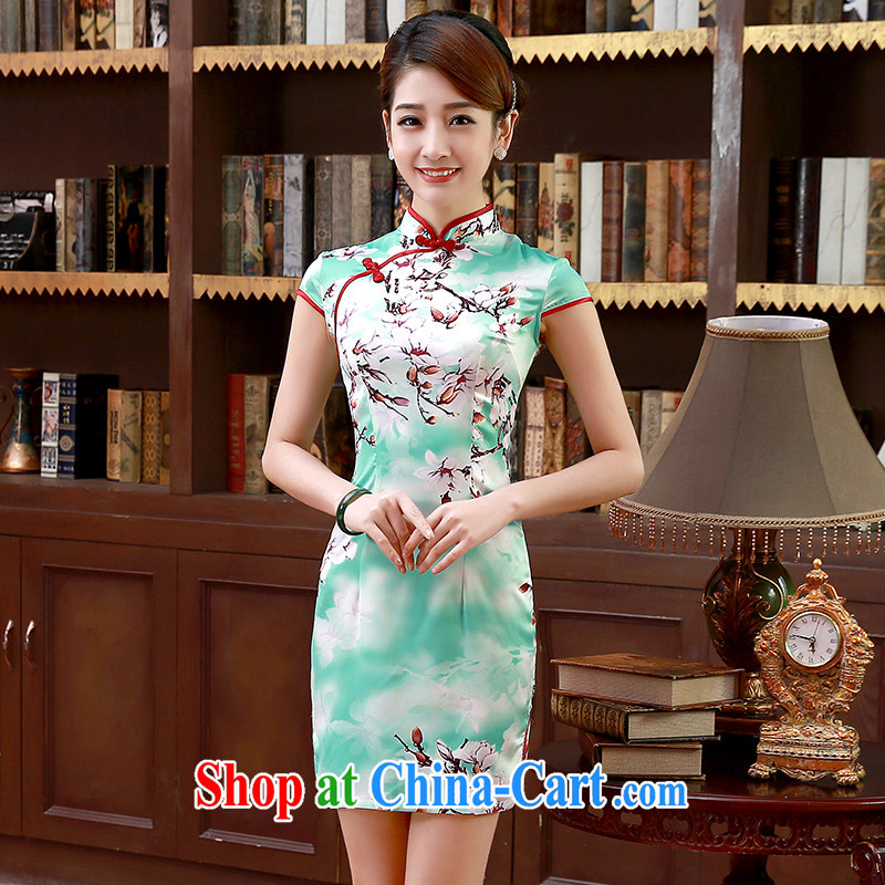Spring and Summer 2015 new dresses retro improved stylish short, short-sleeved cheongsam dress graphics thin Q 1066 green XXL