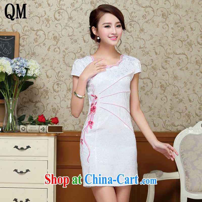 Light last summer short white dresses retro improved daily cheongsam dress elegance Sau San Tong load AQE 3386 white saffron XXL