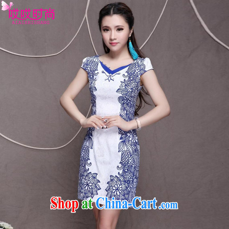 Ah, ah, stylish 2015 summer new women Beauty Fashion graphics thin ethnic wind outfit _9912 blue XXL