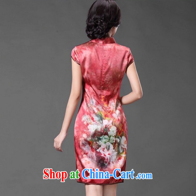 light at the retro style floral Silk Cheongsam dress, bridal wedding dress dresses AQE 014 red XXXL, light (at the end QM), shopping on the Internet