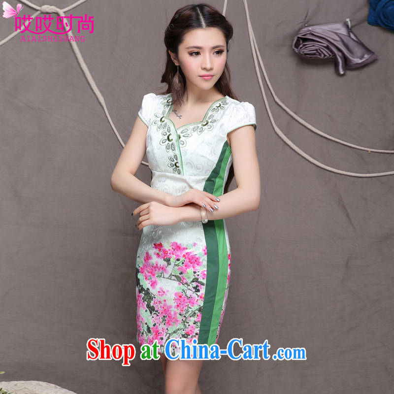 Ah, ah, stylish 2015 summer new women with stylish ethnic wind retro beauty graphics thin outfit _9906 green XL