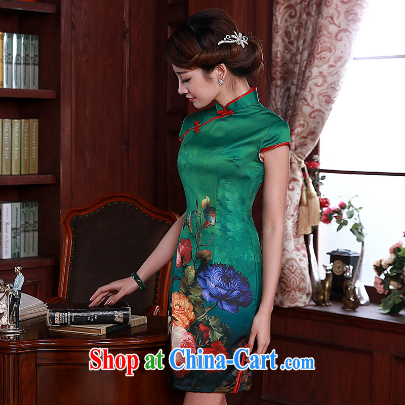 Dresses 2015 new summer fashion improved daily dress graphics thin short dresses Q 1067 green XXL