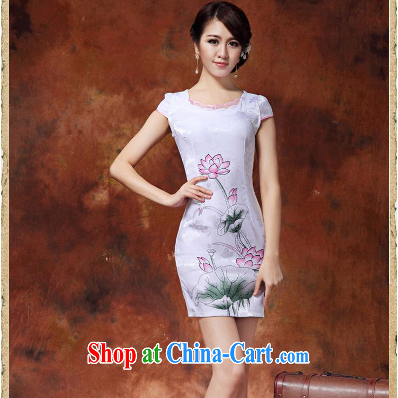 JA the 2015 summer on the new retro improved cheongsam white lotus short cheongsam Sau San Tong load JAYT - 36 white lotus XXL