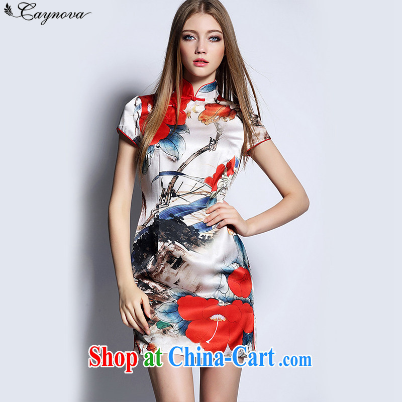 Caynova summer 2015 new European and American antique Ethnic Wind painting stamp cultivating cheongsam dress picture color XL