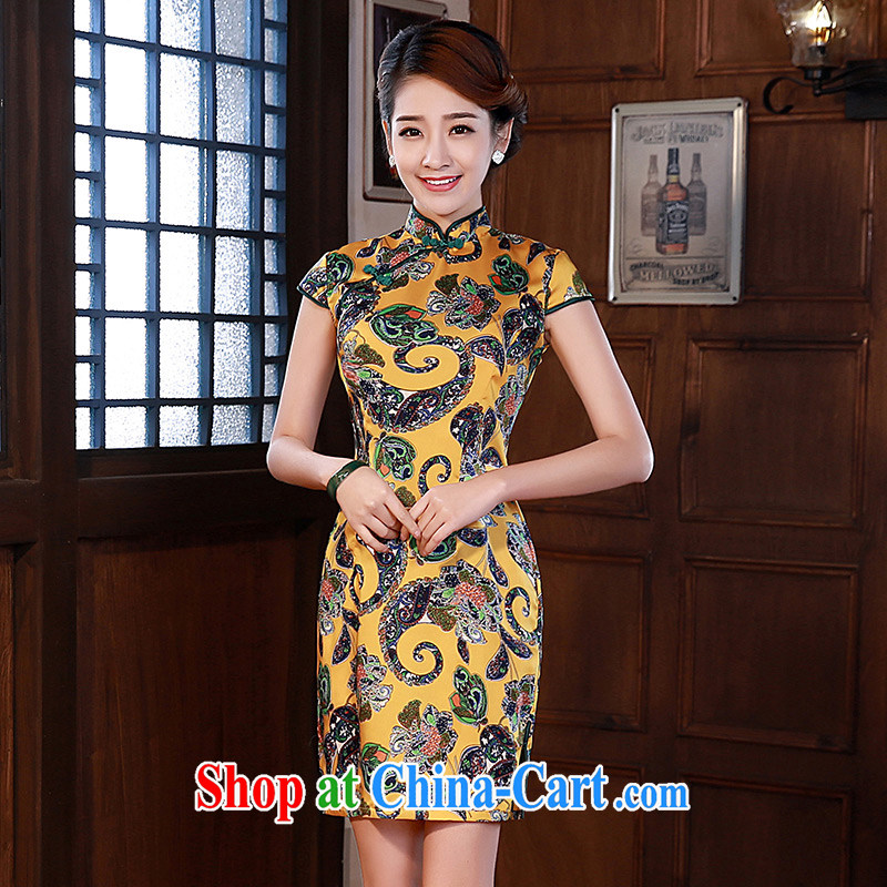 elegant and stylish improved cheongsam 2015 new summer hot sauna Silk Dresses Q 1068 orange XXL