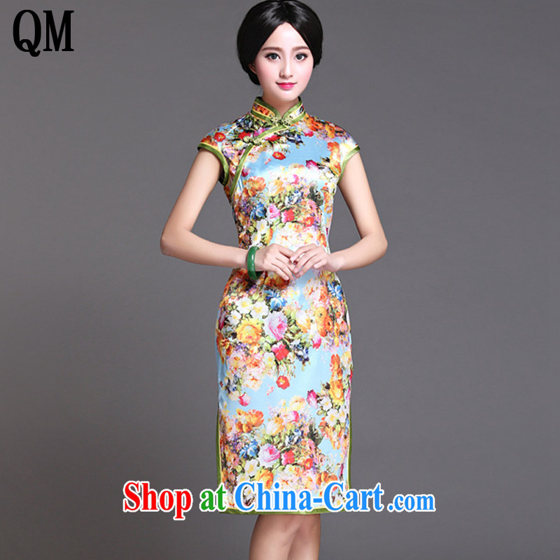 light at the retro style heavy Silk Cheongsam elegance short-sleeved, long cheongsam AQE 017 Map Color XXXL
