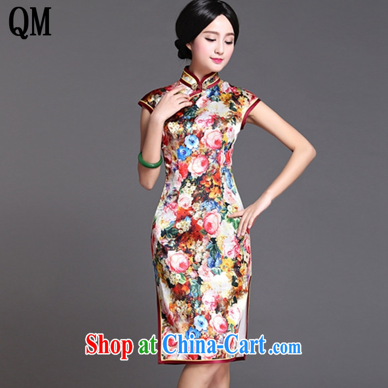 Light the end long Silk Cheongsam dress sense of the Lao sauna silk dress dresses AQE 018 Map Color XXXL