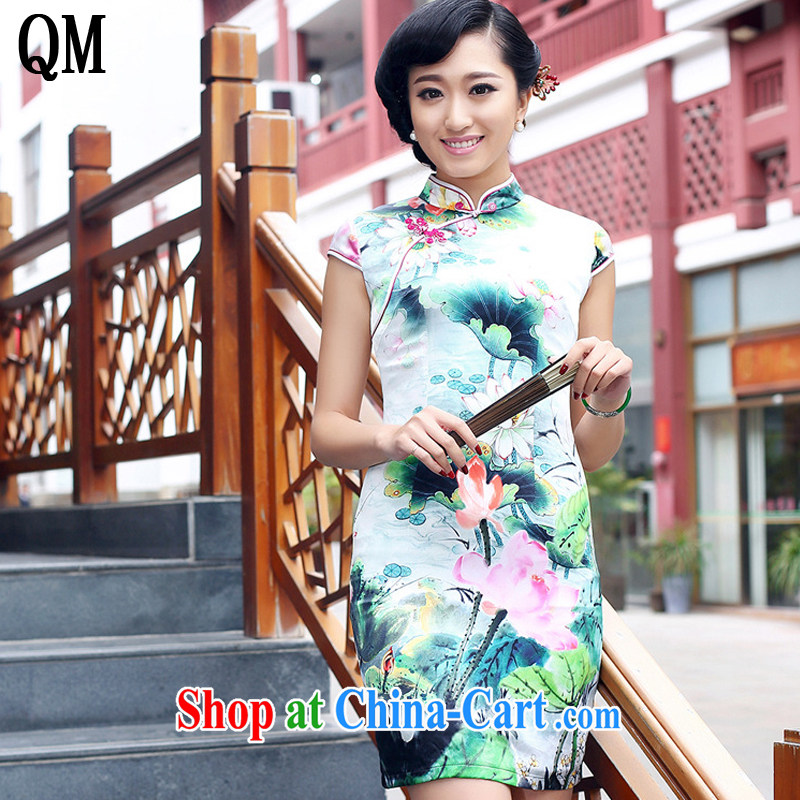 Light the heavy Silk Cheongsam improved daily summer female sauna Silk Dresses AQE 8073 style XXXL