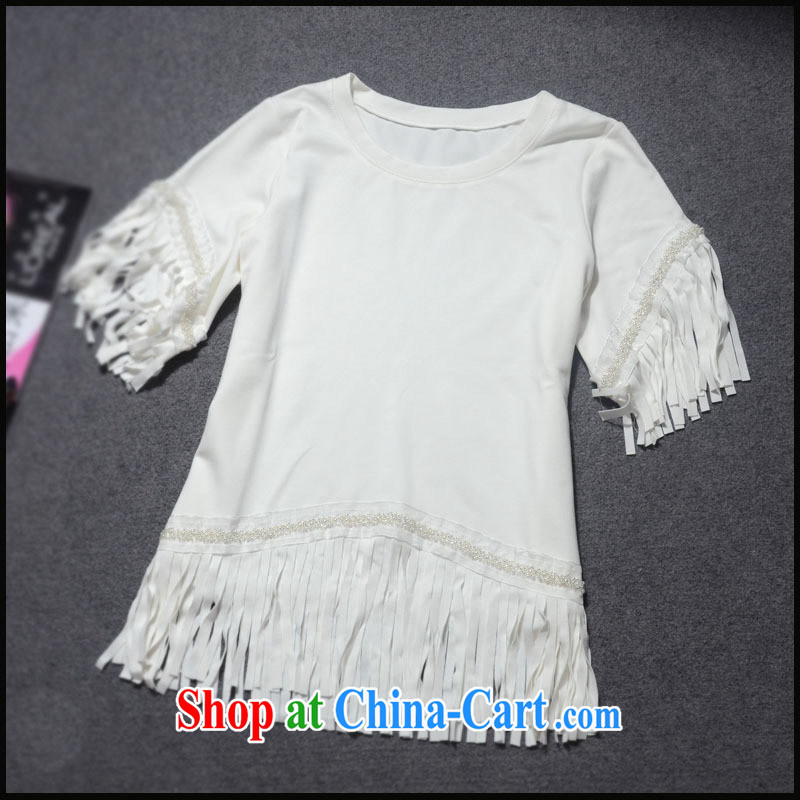 Ya-ting store 2015 European site spring new female fashion-su nails Pearl solid color T shirts T-shirt two-color GC 3170 white L