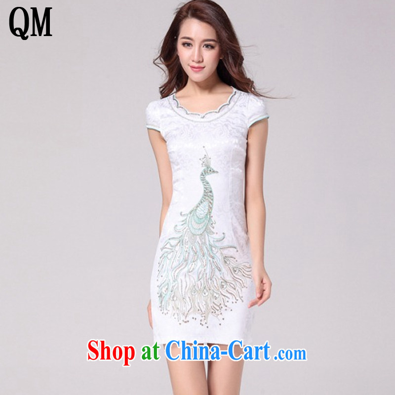 light at the national wind female embroidery Peacock retro dresses the style beauty dresses AQE 9031 white XXL