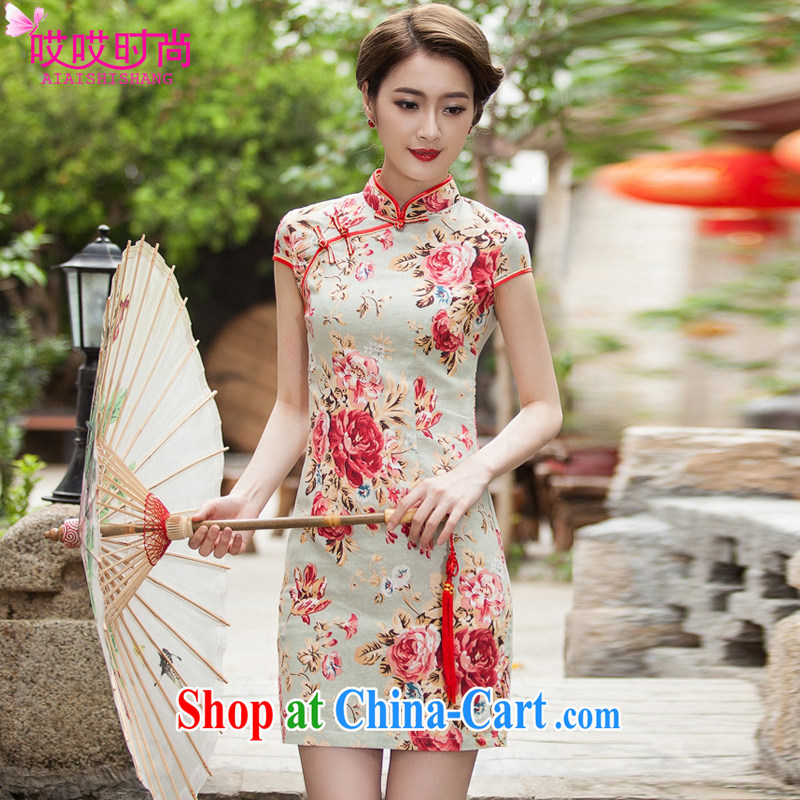 Love stylish summer 2015 new women with elegant beauty short cheongsam 1108 _suit XL