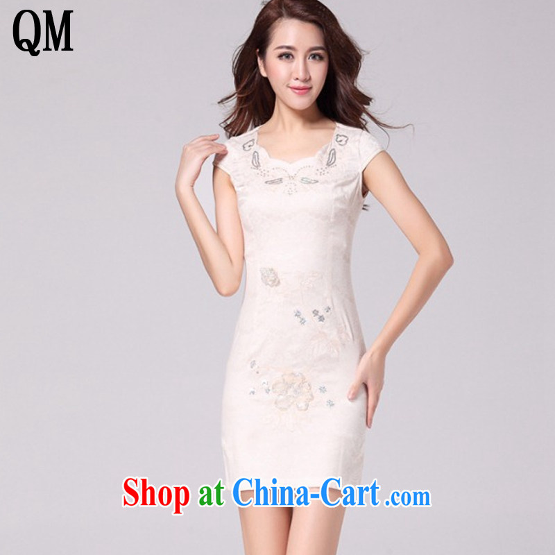 light at the retro style hot drill short summer dresses new improved daily cheongsam dress AQE 9021 apricot XXL