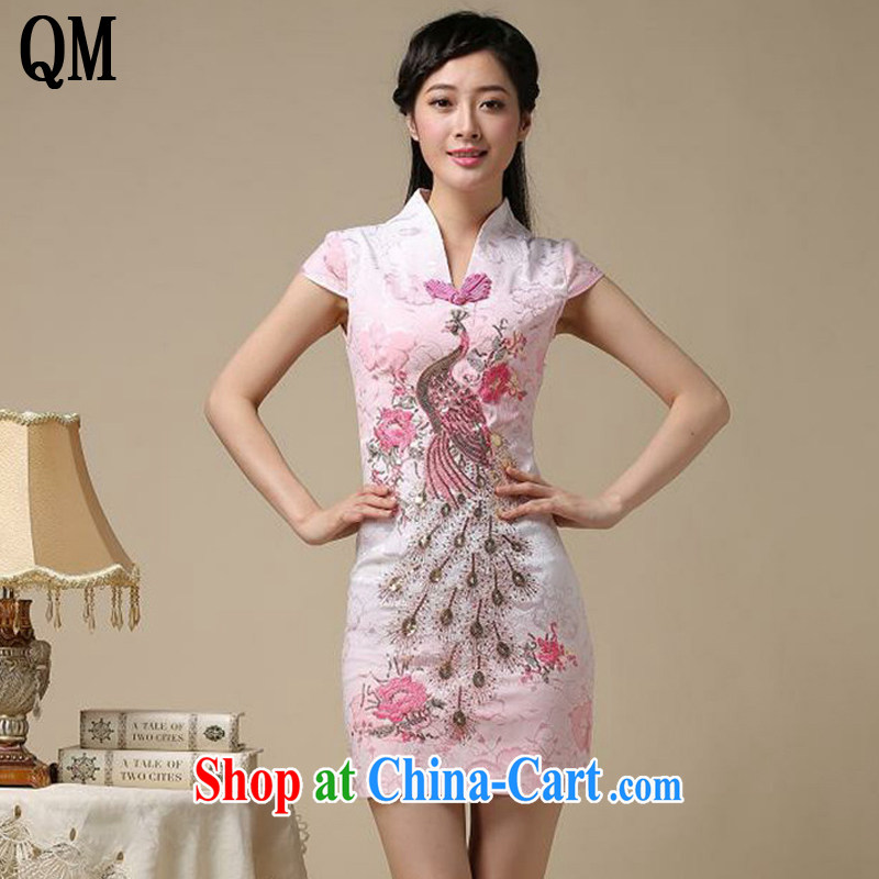 Shallow End Ethnic Wind retro Phoenix Peacock embroidery embroidery cheongsam dress improved daily short cheongsam dress even AQE 8218 pink XXL