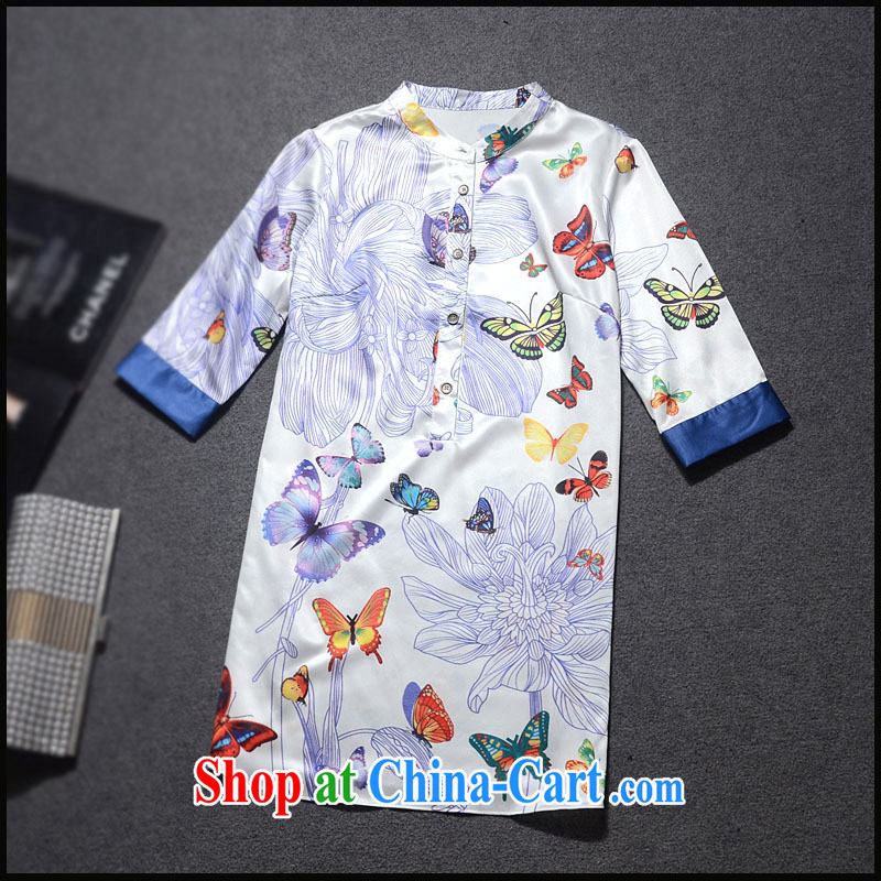 Ya-ting store 2015 European site spring new female butterflies fly stamp emulation, has been in the barrel long T-shirt GC 3237 white XL
