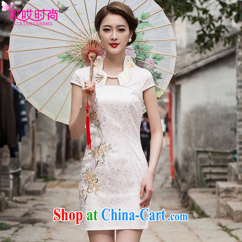 Ah, ah, stylish 2015 summer new women Beauty Fashion graphics thin short cheongsam 1122 #apricot XL