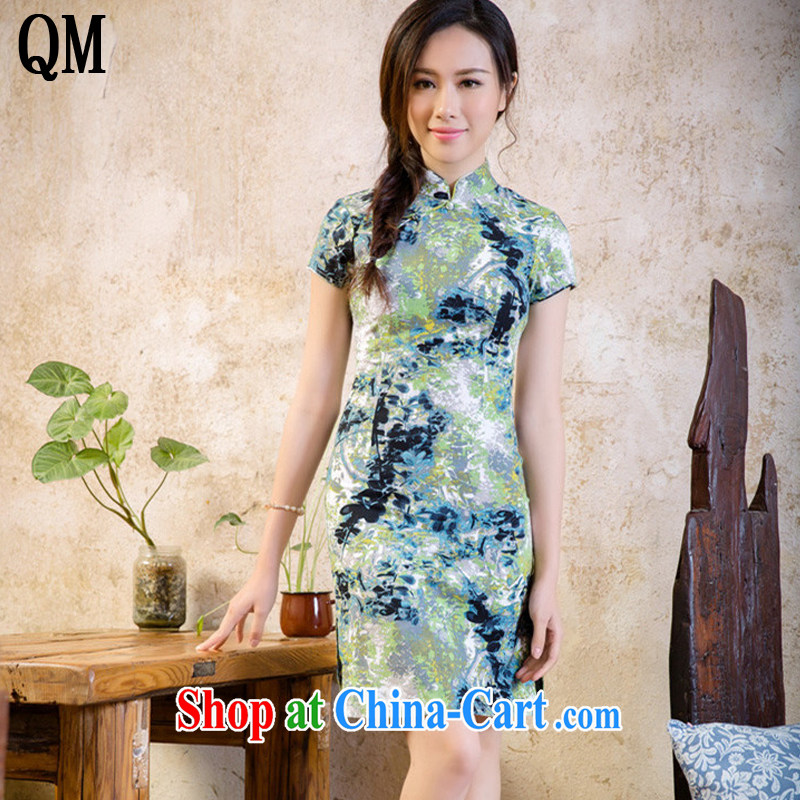 End very short cheongsam dress low-power's sense of cultivating the cotton robes, dresses AQE 2088 cloud rock XXL