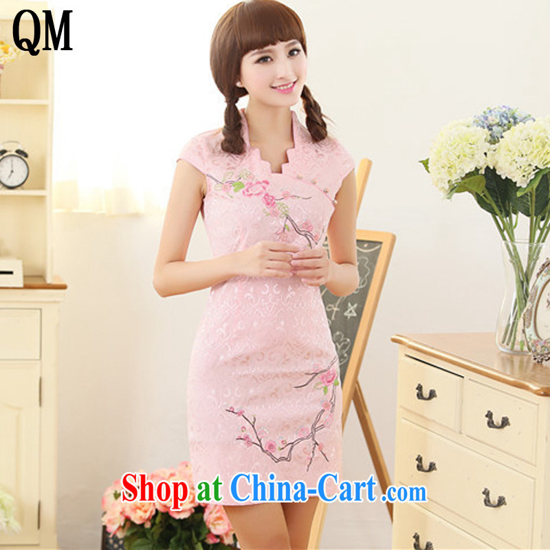 Shallow end China wind female embroidery Phillips-head short cheongsam improved day-dress cheongsam dress AQE 329 pink XXL