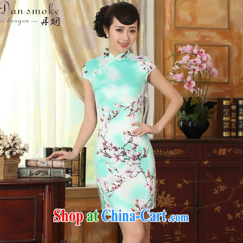 Dan smoke new summer female elegance Chinese qipao Chinese, for a tight damask video thin short cheongsam as shown color 2 XL