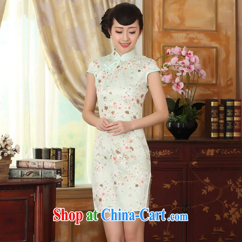 Find Sophie summer wear new clothes cheongsam Chinese Chinese improved, for a tight silk floral graphics thin short cheongsam dress such as the color 2 XL