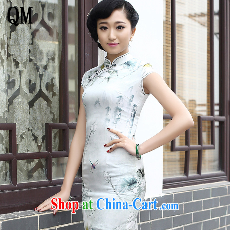light at the short-sleeved heavy Silk Cheongsam improved aura video thin short cheongsam beauty skirt AQE 8044 Map Color XXXL