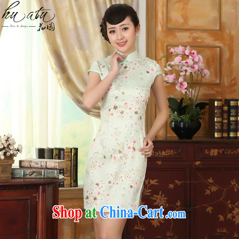 spend the summer new female cheongsam Chinese Chinese improved, for a tight silk floral graphics thin short cheongsam dress figure-color 2 XL