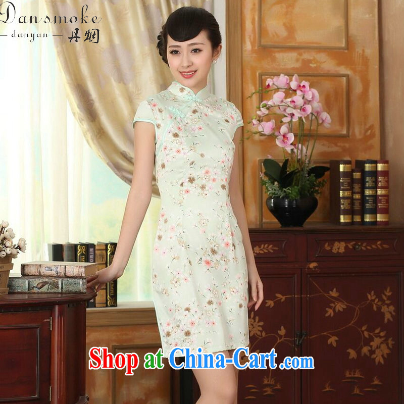 Bin Laden smoke summer new female cheongsam Chinese Chinese improved, for a tight silk floral graphics thin short cheongsam dress figure-color 2 XL