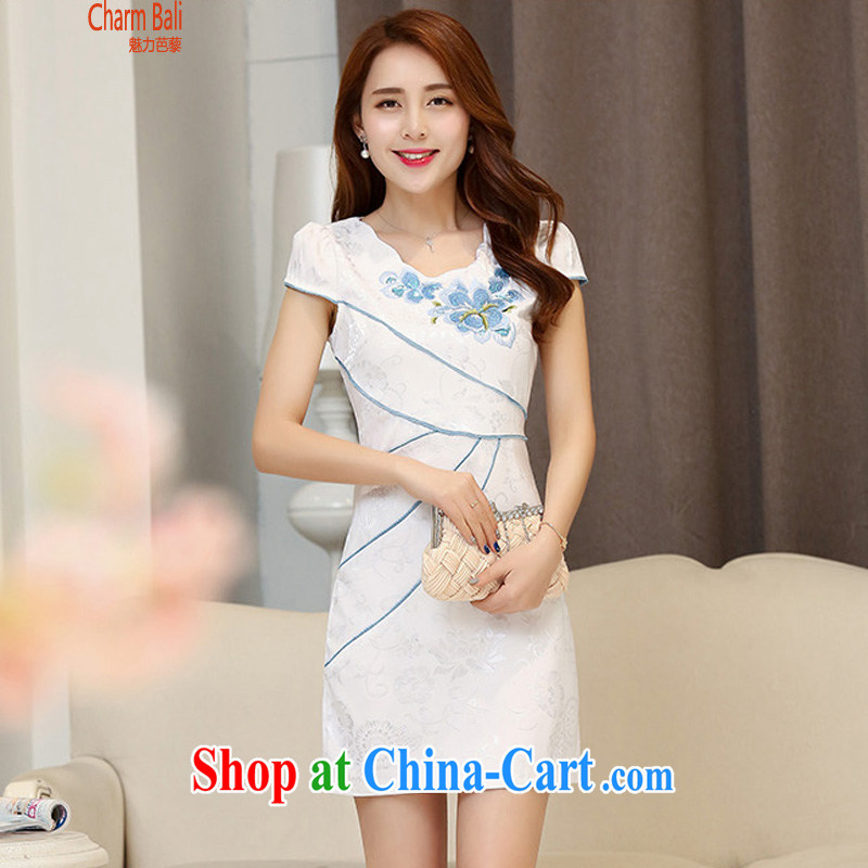2015 summer edition Korea beauty stylish cotton short-sleeved retro Chinese qipao, long dresses Hester Prynne M
