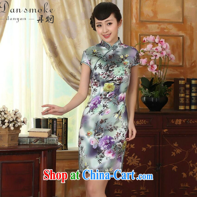 Bin Laden smoke female summer and autumn color Peony short-sleeved beauty, stretch the silk dresses retro Silk Cheongsam double Peony 2 XL