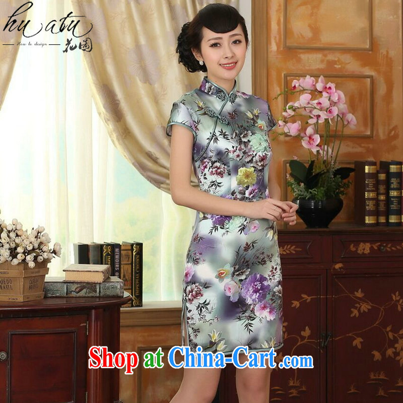 Take the female summer and early autumn color Peony short-sleeved beauty, stretch the silk dresses retro Silk Cheongsam double-figure color 2 XL