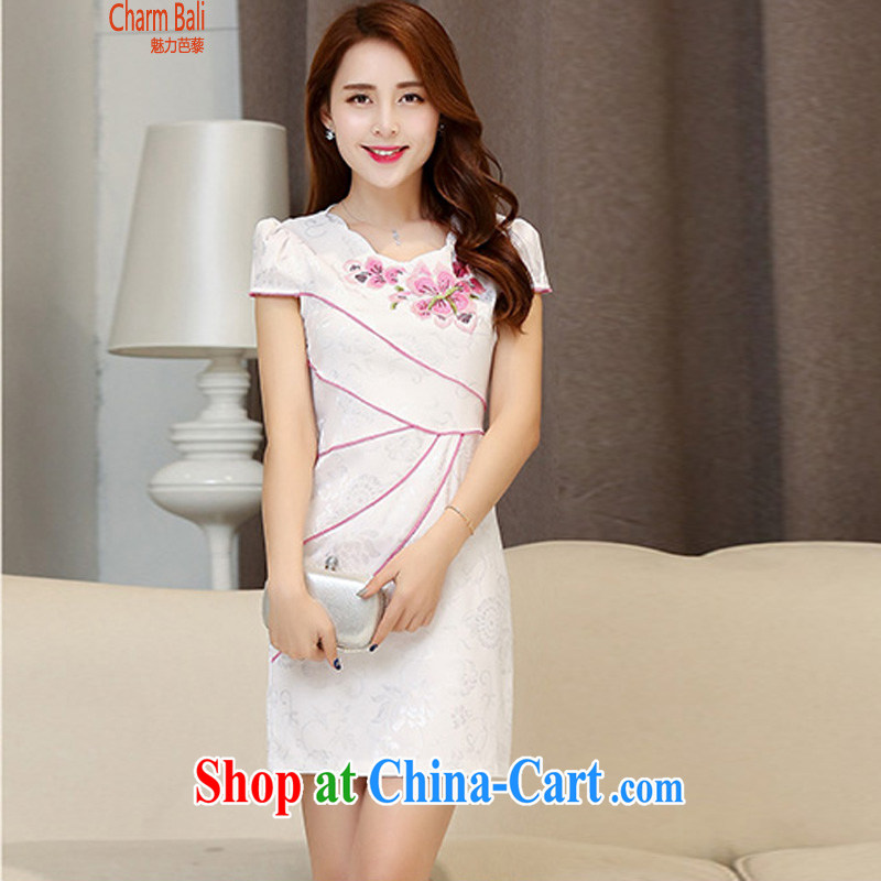 2015 summer edition Korea beauty and stylish cotton short-sleeved retro Chinese cheongsam dress, long dress, the Red Cross L