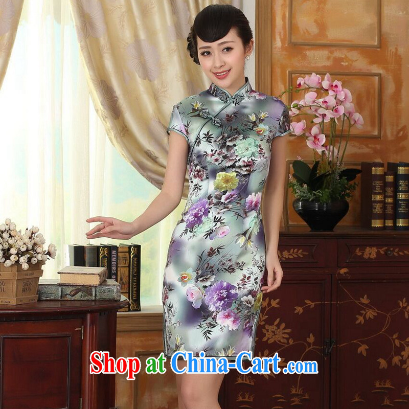 Find Sophie female summer and autumn colored Peony short-sleeve beauty, stretch the silk dresses retro Silk Cheongsam double Peony 2 XL