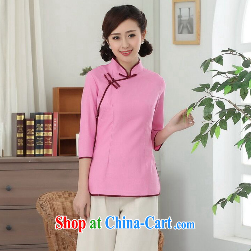 Find Sophie, Tang with Han-cotton the Chinese Government for a tight literary Ethnic Wind blouses Tang is improved - D pink 2 XL