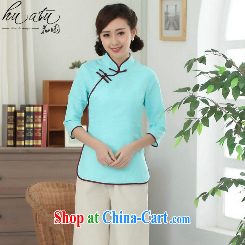 Spend figure, Chinese Han-Yau Ma Tei cotton Chinese, for a tight literary Ethnic Wind blouses Tang is improved - D sky 2 XL