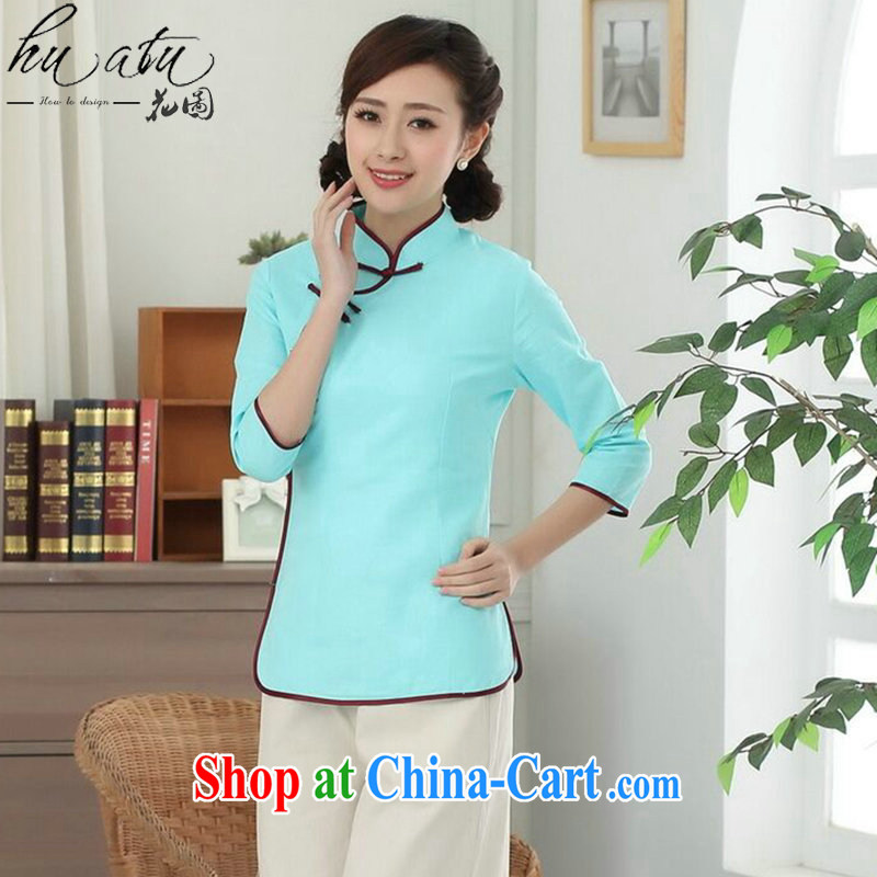 Spend figure, Chinese Han-cotton the Chinese, who is a tight literary Ethnic Wind blouses Tang is improved - D sky 2 XL, spend figure, and shopping on the Internet