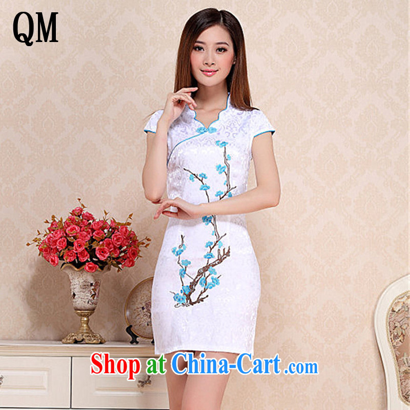 light at the embroidery phillips-Sau San short dresses retro fashion daily cheongsam dress short-sleeved summer dress AQE 0760 blue XXL