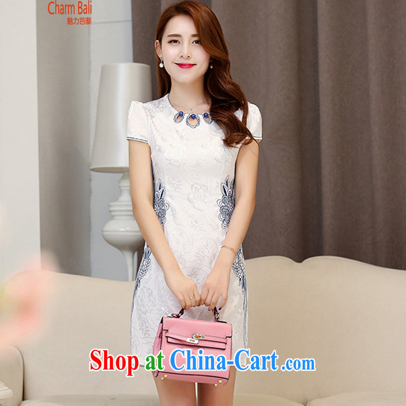 2015 summer edition Korea beauty and Stylish retro, short-sleeved Chinese qipao, long dresses white blue L